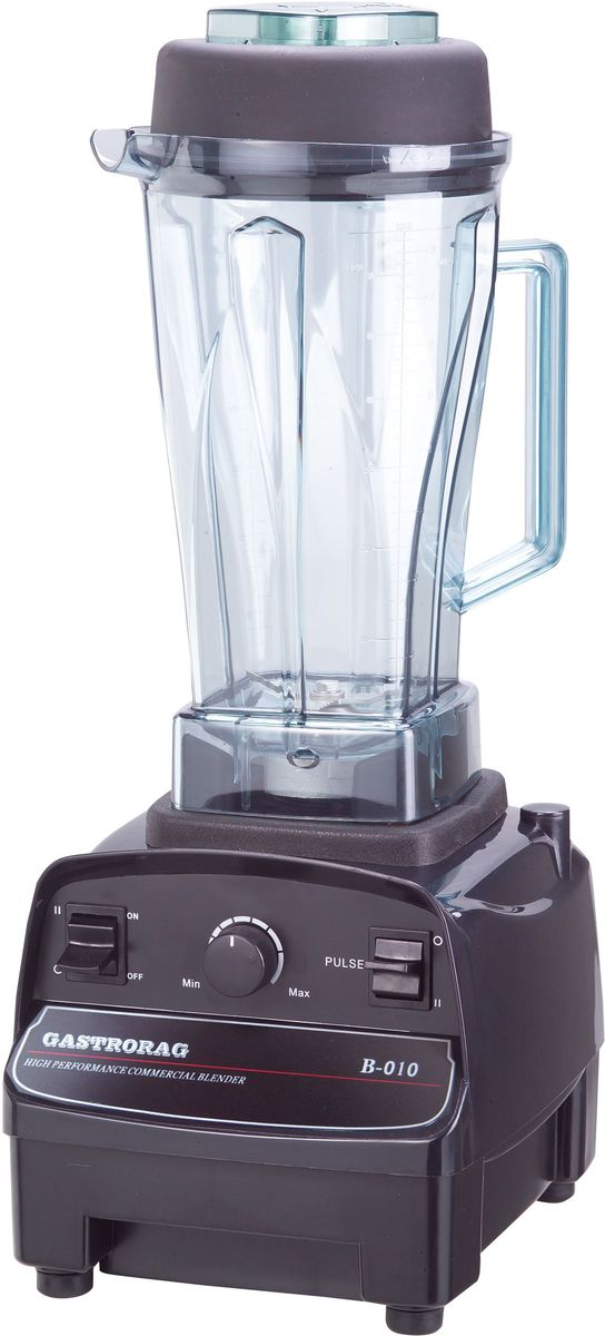 GASTRORAG B-010, Black блендерB-010Блендер GASTRORAG B-010 станет незаменимым помощником на вашей кухне.Особенности:- плавная регулировка скорости (до 35000 об/мин) + режим пульсации, - стакан емкостью 2 л из поликарбоната с крышкой и мерным колпачком, - материал корпуса - ABS-пластик,- мешатель в комплекте.