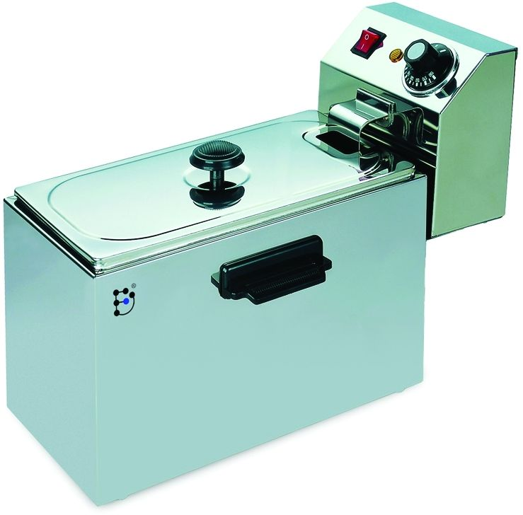 GASTRORAG CZG-40 фритюрницаCZG-40Электрический фритюрный шкаф GASTRORAG CZG-40 с двумя котлами емкостью по четыре литра предназначен для приготовления блюд в глубоком слое масла (во фритюре). Температура фритюра регулируется в пределах 110°C -190°C. Съемные блоки управления с ТЭНами и котлы делают очистку быстрой и удобной.