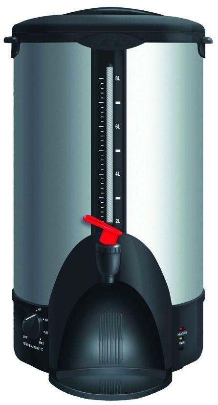 GASTRORAG DFQ-80 кипятильникDFQ-80Кипятильник DFQ-80 идеально подходит для кипячения воды, хранения и розлива горячей воды при приготовлении горячих напитков.Кипятильник работает от сети с напряжением 220 вольт, что позволяет его использовать везде, где есть бытовая розетка с заземлением.Терморегулятор позволяет поддерживать постоянную заданную температуру воды.Нагревательный элемент в этой модели закрыт, что позволяет уберечь его от накипи.