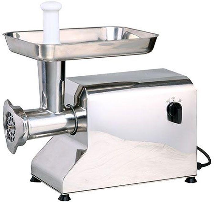 GASTRORAG TC12, Silver мясорубкаTC12Электрическая мясорубка GASTRORAG TC12 предназначена для ресторанов, магазинов и для дома. Мясорубкаполностью выполнена из нержавеющей стали и оснащена стандартной мясорубочной системой (1 нож, 1 решетка),измельчающей мясо один раз за один проход. Производительность модели составляет 120 кг в час. Системаохлаждения двигателя обеспечивает непрерывную работу, а функция реверса позволяет в случае необходимостиразблокировать шнек, не прибегая к разборке и очистке оборудования. В комплект поставки входят 2 решетки(диаметр отверстий 5 и 8 мм).