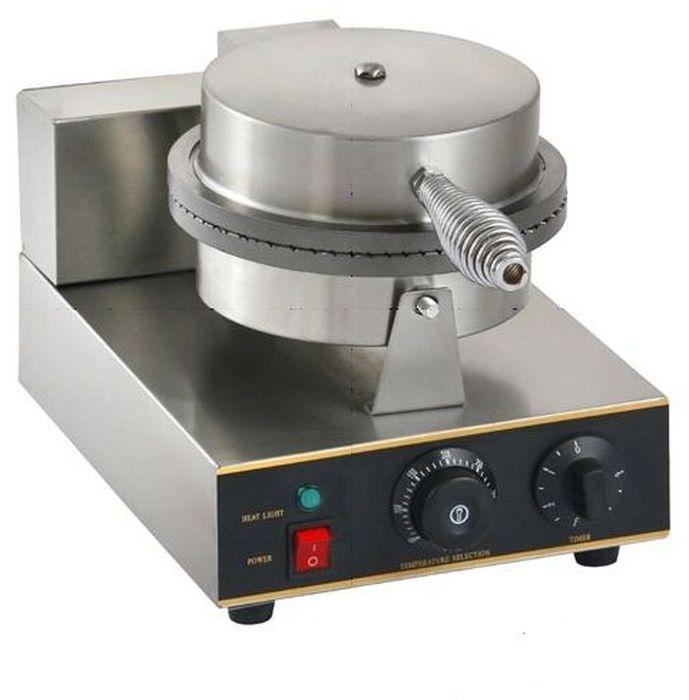 GASTRORAG ZU-XGP-1E, Silver вафельницаZU-XGP-1EВафельница GASTRORAG ZU-XGP-1 предназначена для выпечки тонких круглых вафель диаметром не более 21 см. Преимущества использования этой модели: - практичность - круглые тонкие вафли можно использовать для различных десертов, от классических трубочек с начинкой до вафельных тортов; - высокая производительность, время выпечки и температуру можно регулировать; - отсутствие сложностей в управлении и обслуживании; - комплекте идет деревянный конус для изготовления вафельных рожков; - малый вес и небольшие габариты упрощают эксплуатацию.