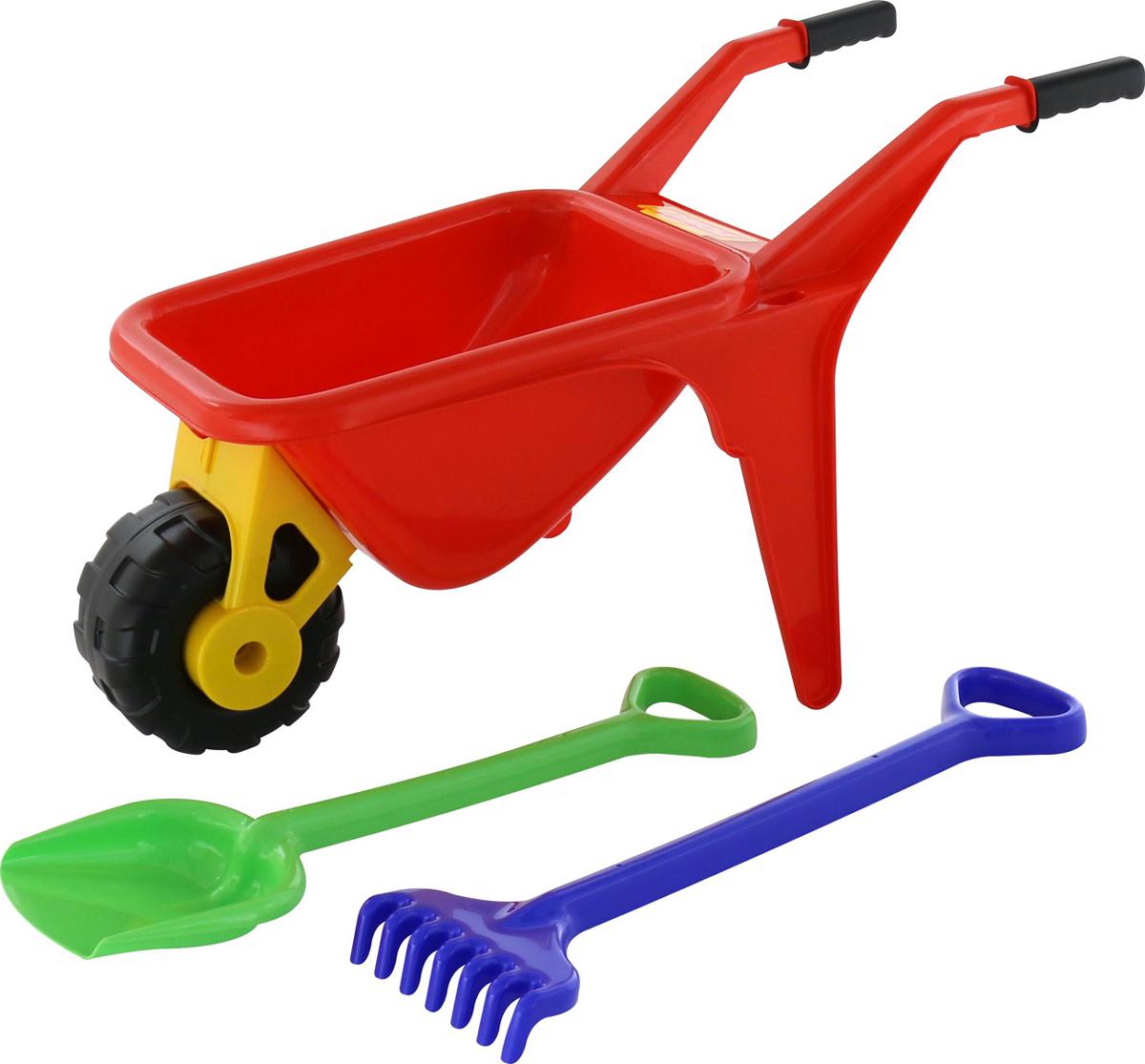 Полесье Набор игрушек для песочницы Тачка Садовод с лопатой и граблями полесье набор игрушек для песочницы тачка садовод с лопатой и граблями цвет желтый