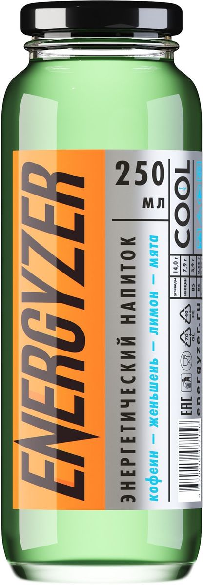Energyzer напиток тонизирующий лимон-мята, 0,25 л напиток негазированный аква минерале лимон пэт х12 0 6л