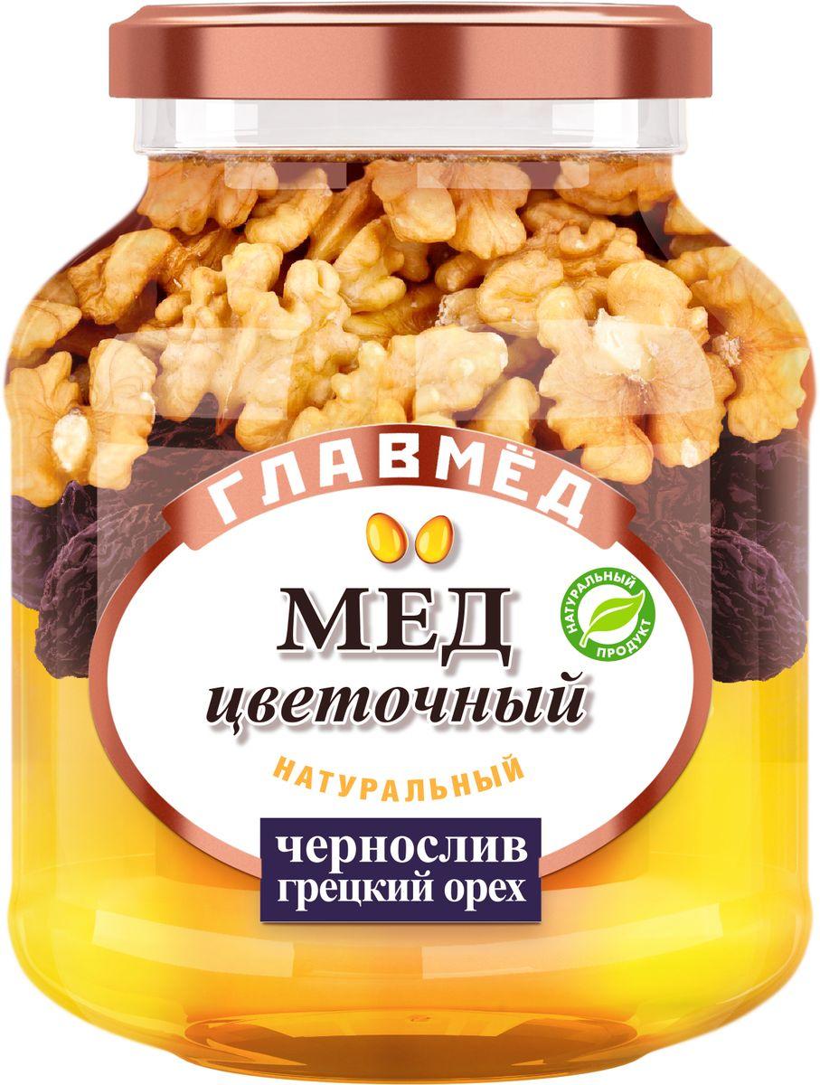 Главмед мед с черносливом и грецким орехом, 450 г18.7255ГЛАВМЕД – натуральный цветочный мед с добавлением орехов, арахиса и сухофруктов.Целебные сорта мёда. Статья OZON Гид