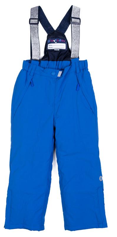 Брюки утепленные для девочки PlayToday, цвет: голубой. 372154. Размер 128372154Теплые брюки от PlayToday на регулируемых лямках. Пояс на широкой удобной резинке. Подкладка выполнена из мягкого флиса. Низ штанин с защитными манжетами и регулируемым шнуром-кулиской. Светоотражатели обеспечат видимость ребенка в темное время суток.
