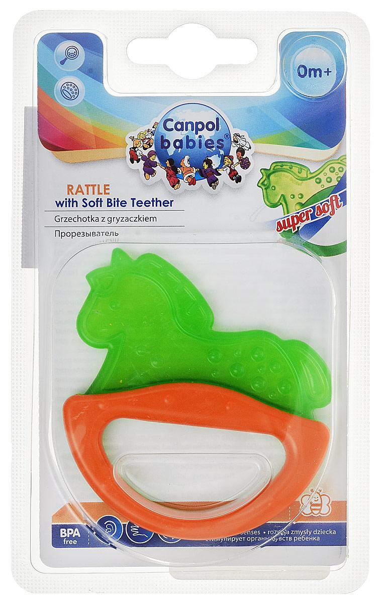 Canpol Babies Погремушка-прорезыватель Лошадка цвет зеленый оранжевый canpol babies погремушка рыбка с прорезывателем цвет зеленый