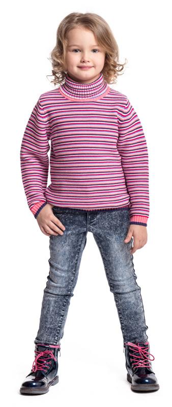 Джинсы для девочки PlayToday, цвет: синий. 372012. Размер 116372012Джинсы PlayToday выполнены из эластичного хлопка. Классическая пятикарманная модель дополнена шлевками. В качестве декора использована россыпь из страз.