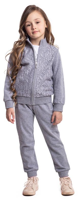 Брюки спортивные для девочки PlayToday, цвет: серый. 372020. Размер 110372020Спортивные брюки PlayToday выполнены из высококачественного хлопкового материала. Пояс на широкой резинке, не сдавливающей живот ребенка, дополнен регулируемым шнуром-кулиской. В качестве декора на поясе и на кулиске использованы люрексные нити. Свободный крой модели не сковывает движений.