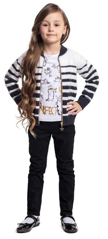 Брюки для девочки PlayToday, цвет: черный. 372016. Размер 116372016Удобные практичные брюки PlayToday выполнены из эластичного хлопка. Пояс на резинке. Модель дополнена двумя втачными передними карманами и двумя накладными задними карманами. В качестве декора использована россыпь из страз.