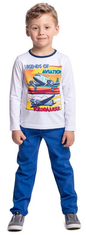 Брюки для мальчика PlayToday, цвет: голубой. 371063. Размер 128371063Практичные брюки PlayToday выполнены из эластичного хлопка. Классическая пятикарманная модель со шлевками, при необходимости можно использовать ремень. Пояс изнутри можно отрегулировать за счет резинки на пуговицах.