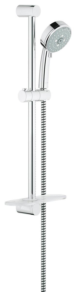 Душевой гарнитур Grohe Tempesta Cosmopolitan, с полочкой. 260830014005176940415Душевой комплект Grohe Tempesta Cosmopolitan воплощает в себе стильную простоту и комфорт в использовании. Комплект состоит из ручного душа, душевой штанги (600 мм) и шланга (1750 мм), изготовленных из высококачественной латуни. Хромированное покрытие StarLight придает изделию яркий металлический блеск и эстетичный внешний вид. Душевой комплект Grohe Tempesta Cosmopolitan удобен и практичен в работе.Особенности:- превосходный поток воды;- система SpeedClean против известковых отложений;- внутренний охлаждающий канал для продолжительного срока службы;- технология совершенного потока при уменьшенном расходе воды;- может использоваться с проточным водонагревателем. Видео по установке является исключительно информационным. Установка должна проводиться профессионалами!