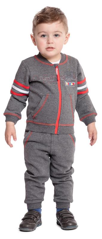 Брюки спортивные для мальчика PlayToday Baby, цвет: серый, красный. 377018. Размер 80