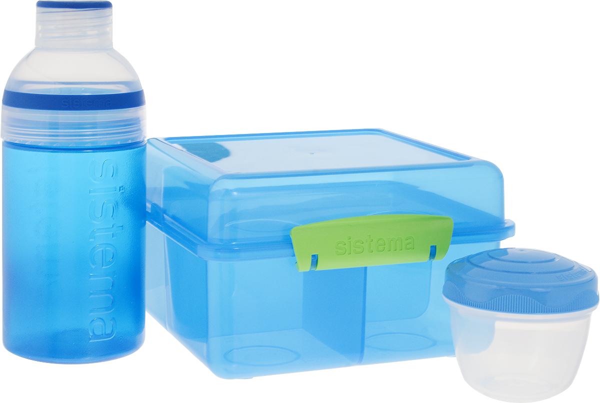 """Набор Sistema """"Lunch"""", выполненный из высококачественного пластика, состоит из ланчбокса,  контейнера и бутылки. Ланчбокс представляет собой контейнер универсального  назначения. Он имеет четыре секции, предназначенные для хранения и переноски различных  продуктов. Контейнер предназначен для хранения соусов, он плотно закрывается крышкой. Для  компактной переноски его можно поставить в секцию ланчбокса. Бутылка для воды изготовлена из прочного пищевого пластика без содержания фенола и других  вредных примесей. Бутылка имеет удобную крышку, которая предотвращает выливание  жидкости. С такой бутылкой вы сможете где угодно насладиться вашими любимыми напитками.  Благодаря компактным размерам и относительно большой вместимости отлично  подойдет для людей, чья жизнь проходит в постоянном движении. Кроме того, вам больше не  придется носить с собой сразу несколько контейнеров.  Объем ланчбокса: 2 л. Объем контейнера: 150 мл. Объем бутылки: 480 мл. Размер ланчбокса: 17 х 17 х 10 см. Размер контейнера: 7 х 7 х 6,5 см. Размер бутылки: 7,5 х 7,5 х 18 см."""