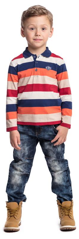 Джинсы для мальчика PlayToday, цвет: синий. 371064. Размер 128371064Практичные джинсы PlayToday выполнены из эластичного хлопка. Классическая пятикарманная модель. Джинсы декорированы потертостями и декоративной строчкой.
