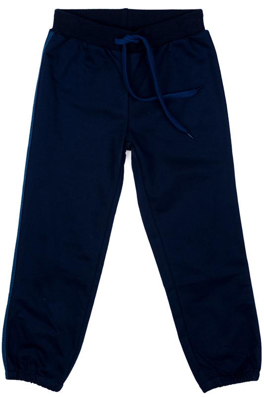 Брюки для мальчика PlayToday, цвет: темно-синий. 371165. Размер 104371165Спортивные брюки PlayToday свободного кроя выполнены из высококачественного хлопкового материала. Пояс на широкой резинке, не сдавливающей живот ребенка, с регулируемым шнуром-кулиской. Низ брючин на трикотажных манжетах. Модель дополнена вшивными карманами. В качестве декора использованы лампасы по бокам штанин.