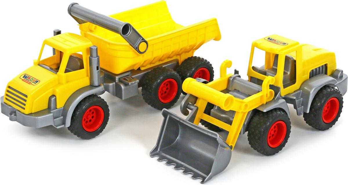 Полесье Набор машинок Самосвал трехосный КонсТрак Трактор-погрузчик КонсТрак машина детская полесье полесье набор автомобиль трейлер трактор погрузчик