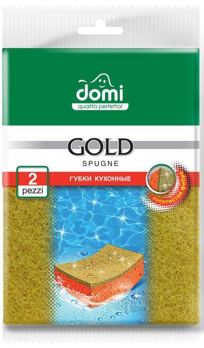 Губки для мытья посуды Domi, цвет: золотой, 2 шт8547 DIГубки Domi отлично подойдут для мытья посуды. Трущий слой губки (фибра) изготовлен с добавлением жестких абразивных частиц. Высокаяплотность и жесткость фибры способствует эффективной очистке даже самых стойких загрязнений. Долговечная.Не использовать для очистки тефлона, нержавейки и других деликатных поверхностей.Фибра окрашена в оригинальный золотистый цвет. В упаковке 2 губки.