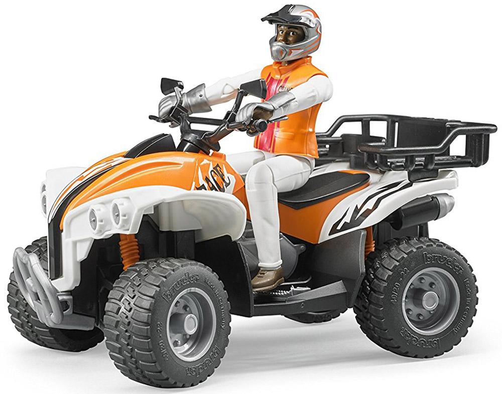 Bruder Квадроцикл с гонщиком цвет оранжевый bruder внедорожник с гонщиком cross country racer синий bruder