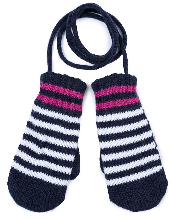 Варежки для девочки PlayToday, цвет: темно-синий, белый, розовый. 372179. Размер 14372179Двусторонние вязаные варежки PlayToday выполнены из натуральной акриловой пряжи. Подкладка из натурального хлопка. Между собой варежки соединены вязаным шнуром.