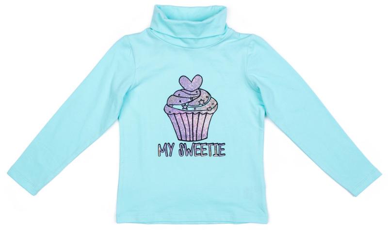 Водолазка для девочки PlayToday, цвет: голубой. 372125. Размер 122372125Водолазка PlayToday выполнена из эластичного хлопка. Модель с длинными рукавами и воротником-гольф имеет свободный крой, который не сковывает движений. Модель декорирована принтом.