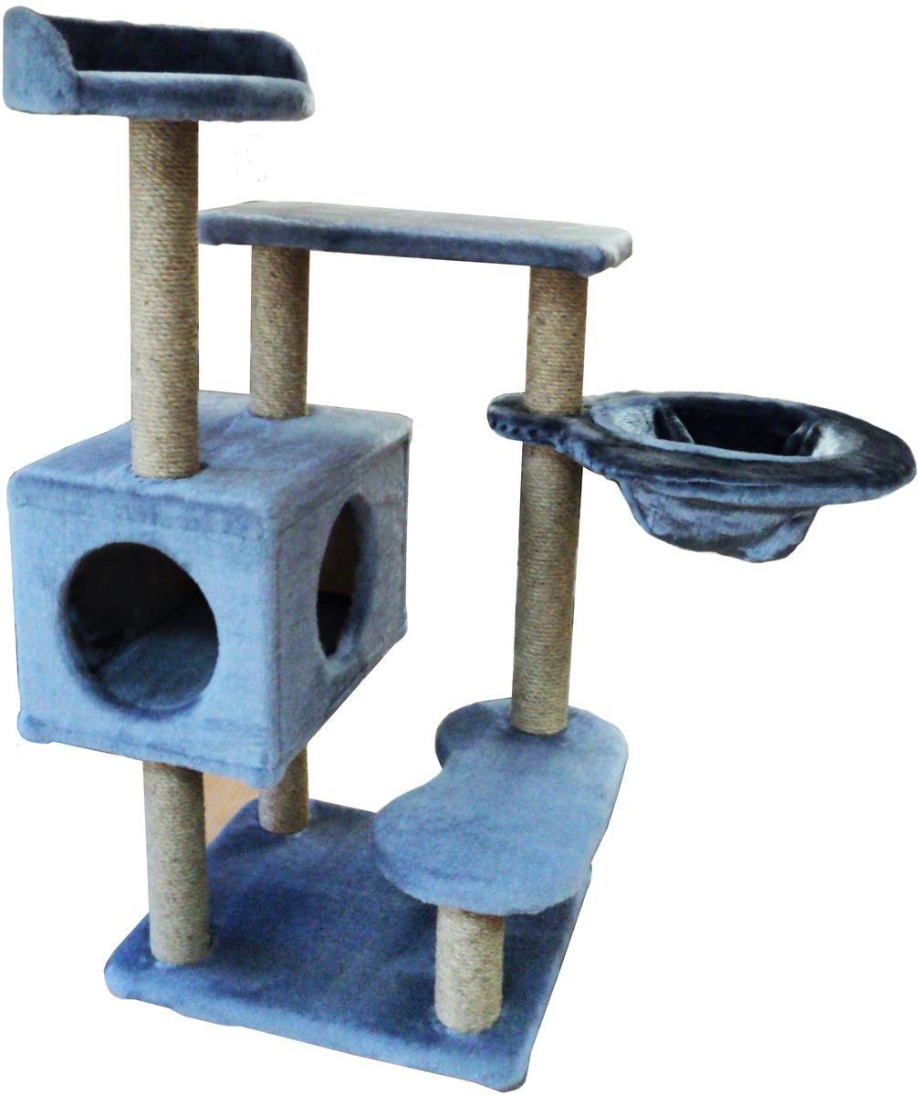 Игровой комплекс для кошек ЛапкинДом Барсик, с домиком, гамаком и когтеточкой, цвет: серый, 60 х 60 х 110 смБДС6Игровой комплекс для кошек ЛапкинДом Барсик выполнен из высококачественного ДСП и обтянут искусственным мехом. Все горизонтальные полки под мехом, для большего комфорта питомца, проложены поролоном. Гамак выполнен из высококачественной толстостенной фанеры и выдерживает значительные нагрузки.Размер комплекса: 60 х 60 х 110 см.Внешний диаметр гамака: 41 см.Внутренний диаметр гамака: 28 см.Диаметр верхней полки: 30 см.Размер домика (ДхШхВ): 46 х 31 х 29 см.