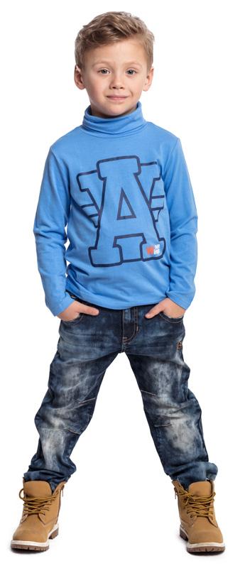 Водолазка для мальчика PlayToday, цвет: голубой. 371073. Размер 98371073Водолазка PlayToday выполнена из эластичного хлопка. Модель с длинными рукавами и воротником-гольф имеет свободный крой, который не сковывает движений. Модель декорирована принтом.