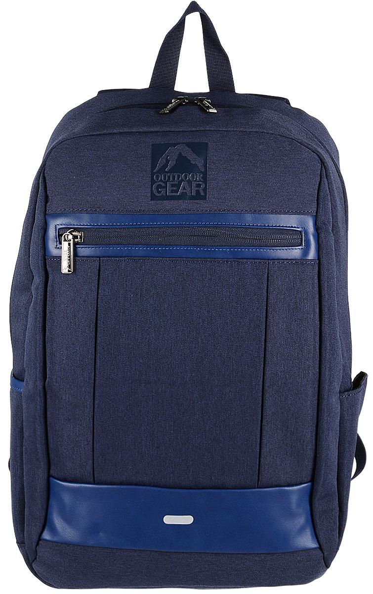 Рюкзак городской Outdoor Gear, цвет: темно-синий.1811Стильный и удобный рюкзак изготовлен из качественного 100% полиэстера с водоотталкивающими свойствами. Рюкзак Outdoor Gear, в котором сочетается функциональность и эстетический внешний вид имеет одно большое отделение, которое дополнено отделением для ноутбука и накладным карманом, который дополнительно застегивается на хлястик с липучкой. С внешней стороны рюкзак оснащен одним втачным карманом с небольшим органайзером. Боковые стенки модели имеют два открытых кармана, один из которых увеличивается в размере с помощью молнии. Спинка рюкзака оснащена втачным карманом на молнии. Эргономичные лямки с регулировкой и ортопедическая спинка добавят вам комфорта при использовании.