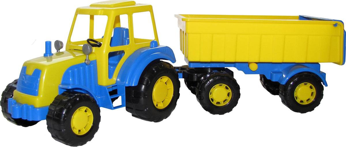 полесье трактор чемпион цвет синий желтый Полесье Трактор Алтай с прицепом №1 цвет желтый синий