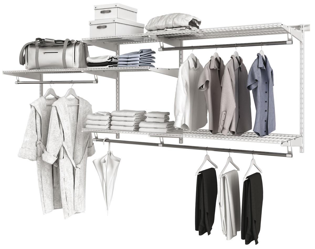 Гардеробная система хранения Титан-GS 350ЦБ000005362Базовый комплект гардеробной системы Титан-GS 350 - это готовое решение для квартиры,дачи, гаража, обеспечивающее удобное хранение вещей. Система собирается в 5 разныхконфигурациях, что позволяет подстраивать ее под размеры помещения и ориентироваться наличные пожелания по расположению отдельных элементов. В комплект входят несущие рельсыи навесные направляющие, полки, штанги, аксессуары, крепежные элементы. Можно докупитьмножество дополнительных компонентов для гардеробной системы. Преимущества: Простая и надежная конструкция;Эргономичная и удобная система хранения;Простая сборка и установка; Размер: 1170 x 430 x 80 мм; Вес: 18,3 кг; Комплектация: 2 рельса для крепления стоек (1000 мм.). 4 стойки для установки кронштейнов (1152 мм.). 9 кронштейнов для размещения сеточных полок (335 мм.). 7 кронштейнов для перекладин. 3 сеточные полки (306х603 мм.) + 3 сеточные полки (306х903 мм.).1 перекладина для вешалок (640 мм.) + 3 перекладины для вешалок (940 мм.). 1 соединитель для перекладины. 3 комплекта торцевых заглушек для перекладин.