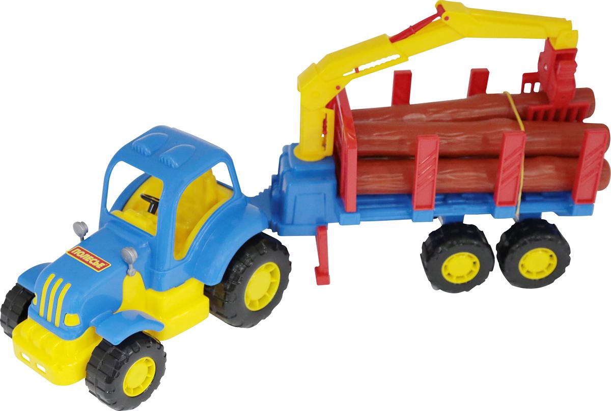 Полесье Трактор Крепыш с полуприцепом-лесовозом игрушка полесье крепыш 44549