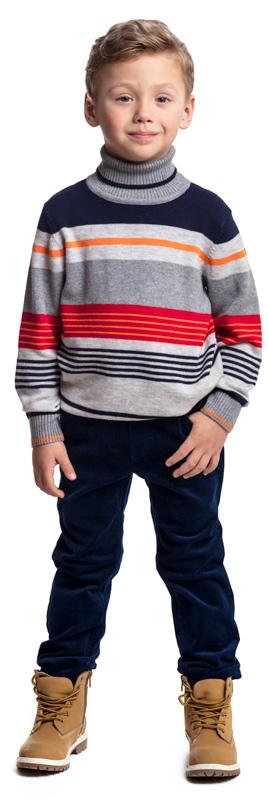Свитер для мальчика PlayToday, цвет: серый, синий, красный. 371059. Размер 104