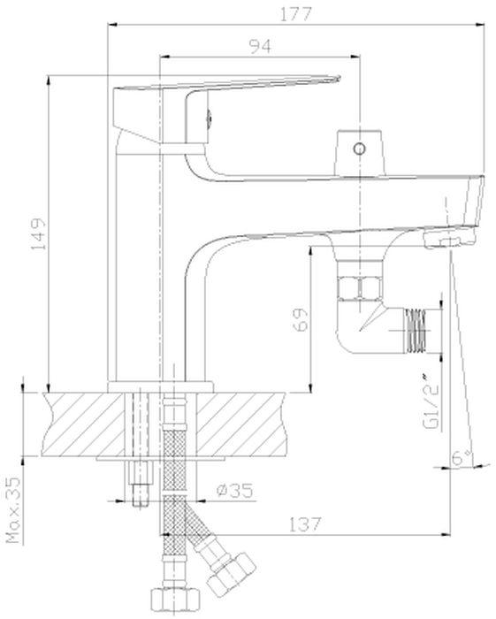 Смеситель на борт ванны с монолитным изливом.В комплекте: Пластиковый аэратор с функцией легкой очистки Керамический картридж 35 мм Аксессуары в комплекте (шланг 2 м, настенное крепление, 5-функциональная лейка с функцией легкой очистки) Гибкая подводка 40 см – 2 шт. Присоединительная группа для горизонтального крепления Металлическая рукоятка