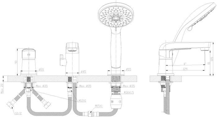 """Смеситель на борт ванны на 3 отверстия """"Rossinka"""" изготовлен методом литья из высококачественной латуни с пониженным содержанием свинца. В качестве рабочего элемента используется картридж с керамическими пластинами диаметром 35 мм.  Смеситель снабжен аэратором с функцией легкой очистки, который обеспечивает низкий уровень шума и делает струю воды равномерной и приятной на ощупь. Пластиковая сетка препятствует быстрому загрязнению и защищает от известковых отложений. Аксессуары в комплекте (шланг 2 м, 5-функциональная лейка с функцией легкой очистки, свинцовый отвес).  Лейка для душа изготовлена из пластмассы с высококачественным хром-никелевым покрытием, устойчивым к повреждениям (кроме механических повреждений), а материалы форсунок позволяют легко избавиться от известкового налета.  Шланг имеет повышенную прочность благодаря оплетке с двойным вальцеванием из нержавеющей стали, которая обеспечивает высокую сопротивляемость шланга на разрыв и излом. Трубка EPDM выполнена из нетоксичной резины, соответствующей ГОСТ 5496.  Модель снабжена картриджным дивертором с плавным переключением """"душ-излив"""". Он устойчив к перепадам давления в системе водоснабжения при переключении воды с излива на душ и обратно, а также идеален при слабом давлении воды в водопроводной системе.  Присоединительная группа для горизонтального крепления (2 комплекта).  Смесители Rossinka Silvermix адаптированы к низкому качеству российской водопроводной воды и максимально подходят под условия эксплуатации в нашей стране (жесткая вода, частые перепады температуры и напора воды).  Длина гибкой подводки: 40 см.  Керамический картридж: 35 мм.  Длина шланга: 2 м.  Гарантия на корпус смесителя при условии использования в бытовых условиях 7 лет."""