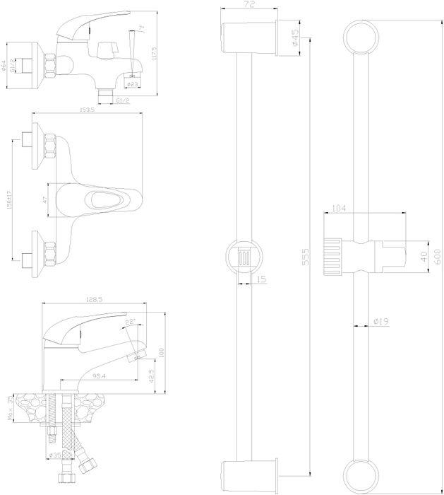 SET35-80. Набор смесителей «3 в 1».Смеситель для умывальника монолитный:• пластиковый аэратор с функцией легкой очистки• керамический картридж 35 мм• гибкая подводка 30 см – 2 шт.• присоединительная группа для горизонтального крепления• металлическая рукояткаСмеситель для ванны с монолитным изливом:• пластиковый аэратор с функцией легкой очистки• керамический картридж 35 мм• переключатель с керамическими пластинами• присоединительная группа (эксцентрики с отражателями) для вертикального крепления• металлическая рукояткаДушевой гарнитур:• душевая стойка• аксессуары в комплекте (шланг 1,5 м, настенное крепление, 1-функциональная лейка с функцией легкой очистки)• присоединительная группа для настенного крепленияСмесители Rossinka были разработаны российским институтом «НИИ Сантехники», что позволило произвести продукт, максимально подходящий под условия эксплуатации в нашей стране (жесткая вода, частые перепады температуры и напора воды).«НИИ Сантехники» рекомендует установку смесителей Rossinka в жилых помещениях, в детских, лечебно-профилактических, дошкольных и школьных учреждениях.Наличие международного сертификата ISO 9001 гарантирует стабильность качества выпускаемой продукции.Сервисная сеть насчитывает 90 гарантийных мастерских по России и странам СНГ.Плановый срок службы смесителей 30 лет.Гарантия на смесители 7 лет.