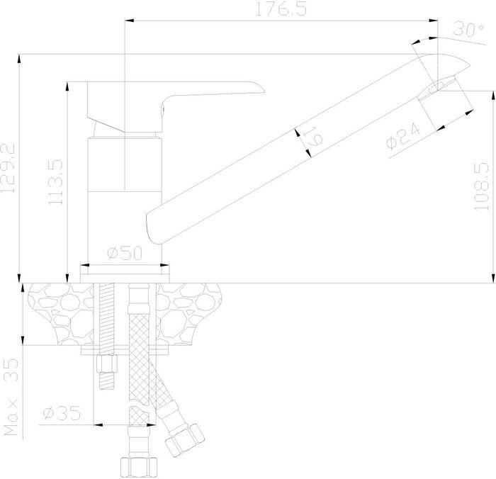 Смеситель для кухни, выполненный из высококачественной латуни с покрытием из хрома, устанавливается на мойку. Комплектация: пластиковый аэратор с функцией легкой очистки; керамический картридж 35 мм; гибкая подводка 35 см - 2 шт.; присоединительная группа для горизонтального крепления; металлическая рукоятка.Гарантия на корпус смесителя при условии использования в бытовых условиях 7 лет.