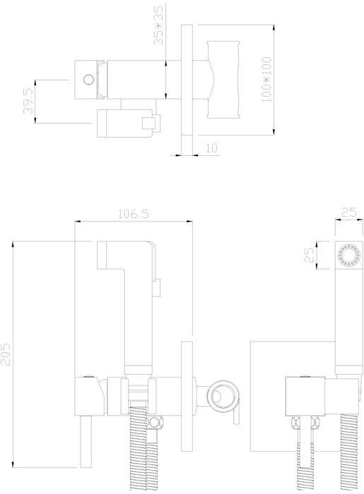 """Встраиваемый одноручный смеситель с гигиеническим душем """"Rossinka"""" изготовлен методом литья из высококачественной латуни с пониженным содержанием свинца. В качестве рабочего элемента используется картридж с керамическими пластинами диаметром 25 мм. Аксессуары в комплекте (шланг 1,2 м, лейка для биде с нажимным механизмом). Шланг имеет повышенную прочность благодаря оплетке с двойным вальцеванием из нержавеющей стали, которая обеспечивает высокую сопротивляемость шланга на разрыв и излом. Трубка EPDM выполнена из нетоксичной резины, соответствующей ГОСТ 5496. Смесители Rossinka Silvermix адаптированы к низкому качеству российской водопроводной воды и максимально подходят под условия эксплуатации в нашей стране (жесткая вода, частые перепады температуры и напора воды). Керамический картридж: 25 мм. Длина шланга: 1,2 м. Гарантия на корпус смесителя при условии использования в бытовых условиях 7 лет."""
