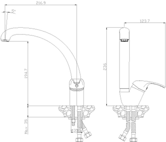 Y35-23 Смеситель для кухни с поворотным изливом.Комплектация:• пластиковый аэратор с функцией легкой очистки•  керамический картридж 35 мм• гибкая подводка 35 см – 2 шт.• присоединительная группа для горизонтального крепления•  металлическая рукоятка.Смесители Rossinka были разработаны российским институтом «НИИ Сантехники», что позволило произвести  продукт, максимально подходящий под условия эксплуатации в нашей стране (жесткая вода, частые перепады температуры и напора воды). «НИИ Сантехники» рекомендует установку смесителей Rossinka в жилых помещениях, в детских, лечебно-профилактических, дошкольных и  школьных учреждениях.Наличие международного сертификата ISO 9001 гарантирует стабильность качества выпускаемой продукции. Сервисная сеть насчитывает 90 гарантийных мастерских по России и странам СНГ.Плановый срок службы смесителей 30 лет.