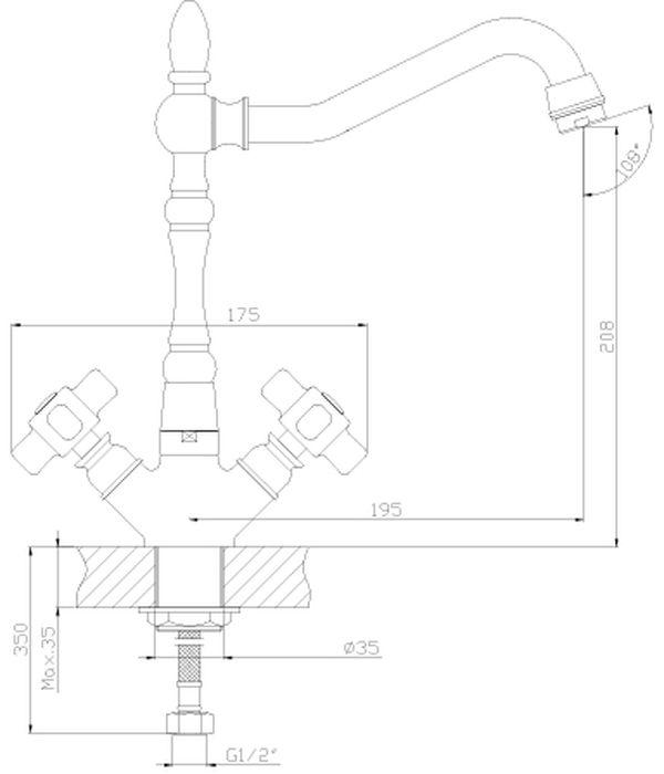 Смеситель для кухни, выполненный из высококачественной латуни с покрытием из хрома, устанавливается на мойку. Комплектация: пластиковый аэратор с функцией легкой очистки;  керамические вентильные головки; гибкая подводка 35 см - 2 шт.; присоединительная группа для горизонтального крепления; металлическая рукоятка.Гарантия на корпус смесителя при условии использования в бытовых условиях 7 лет.