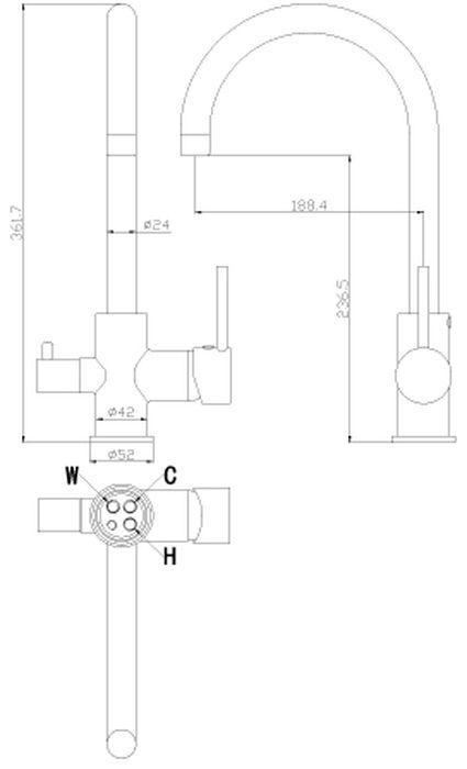 Смеситель для кухни предназначен для смешивания холодной и горячей воды, устанавливается на мойку. Выполнен из высококачественной латуни с покрытием из хрома.Комплектация: пластиковый аэратор с функцией легкой очистки; керамический картридж 35 мм; керамическая вентильная головка; гибкая подводка 35 см - 3 шт.; присоединительная группа для горизонтального крепления; переходник для подключения шланга от фильтра с питьевой водой; металлическая рукоятка.