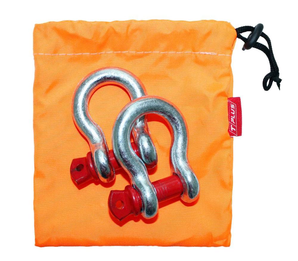 Шакл Tplus, 2 т, 2 штT001377Шаклы Tplus применяются в съёмных связках для присоединения стальных тросов, буксировочных ремней, динамических строп, удлинителей лебедочного троса и корозащитных строп. Рабочая нагрузка: 2 т, для а/м со снаряженной массой до 1.5 т. Коэффициент запаса прочности шаклов: 1:6.