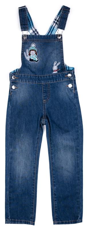 Полукомбинезон для девочки PlayToday, цвет: синий. 372114. Размер 116372114Практичный полукомбинезон PlayToday из джинсовой ткани - отличное дополнение к повседневному гардеробу ребенка. Модель с регулируемыми лямками. В качестве застежек использованы удобные пуговицы-болты. Полукомбинезон декорирован аппликацией.