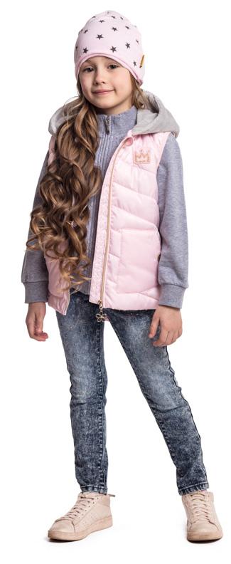 Жилет утепленный для девочки PlayToday, цвет: светло-розовый, серый. 372005. Размер 128372005Жилет PlayToday выполнен из ткани с водоотталкивающей пропиткой. Модель на молнии, а специальный карман для фиксации бегунка не позволит застежке травмировать нежную детскую кожу. Низ изделия на регулируемом шнуре-кулиске. Жилет с удлиненной спинкой дополнен накладными карманами на кнопках. Пройма рукавов на мягкой резинке. Светоотражатели обеспечат видимость ребенка в темное время суток. Модель дополнена капюшоном из контрастного плюшевого материала с ушками.