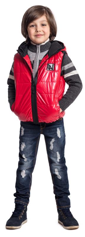 Жилет утепленный для мальчика PlayToday, цвет: красный, черный. 371004. Размер 122