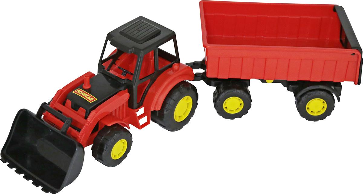 Полесье Трактор Мастер с прицепом №1 и ковшом машинки brio трактор с бревнами на магн и прицепом 22х4х13см блист