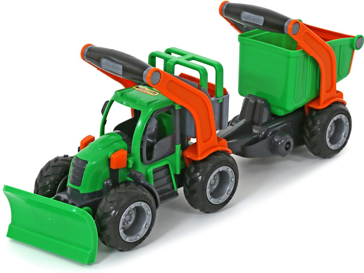 Полесье Трактор снегоуборочный ГрипТрак с полуприцепом 37381 каталка полесье с педалями и полуприцепом трактор turbo 2
