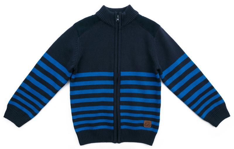 Кофта для мальчика PlayToday, цвет: темно-синий, голубой. 371160. Размер 104371160Вязаная кофта от PlayToday выполнена из ткани с высоким содержанием натурального хлопка. Модель на молнии. Выполнена по технологии Yarn Dyed - в процессе производства используются разного цвета нити. Изделие, при рекомендуемом уходе, не линяет и надолго остается в первоначальном виде. Воротник-стойка.