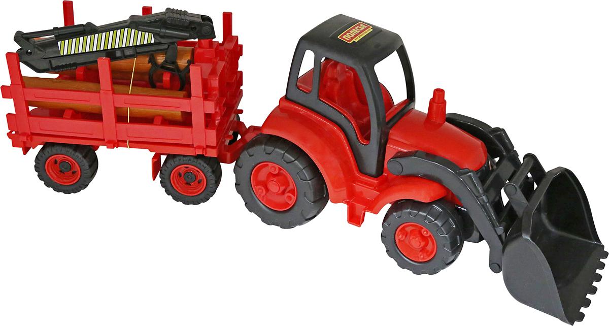 полесье трактор чемпион цвет синий желтый Полесье Трактор Чемпион с ковшом и прицепом-лесовозом