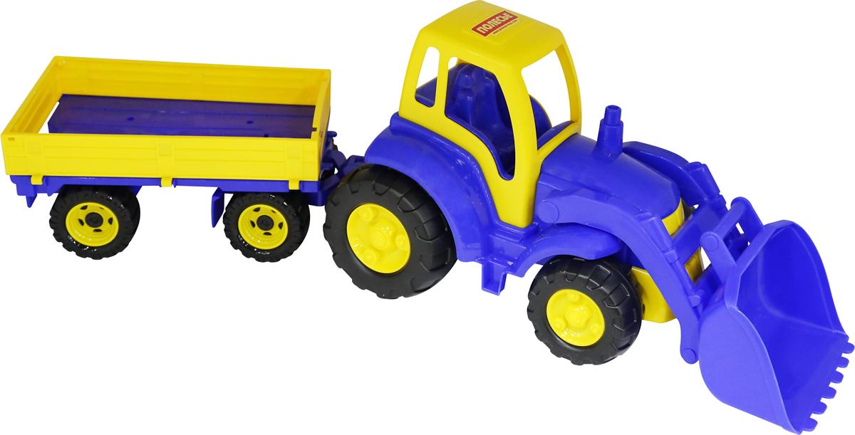 Полесье Трактор Чемпион с ковшом и прицепом полесье конструктор автомобиль легковой с прицепом