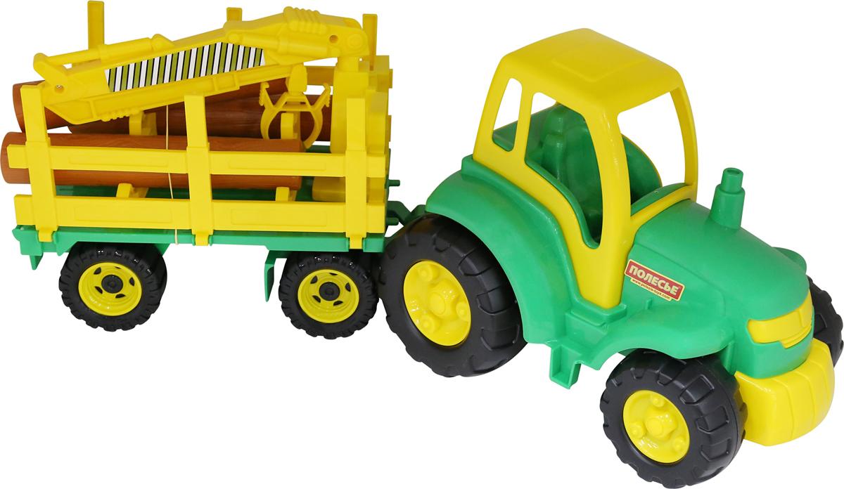 полесье трактор чемпион цвет синий желтый Полесье Трактор Чемпион с прицепом-лесовозом