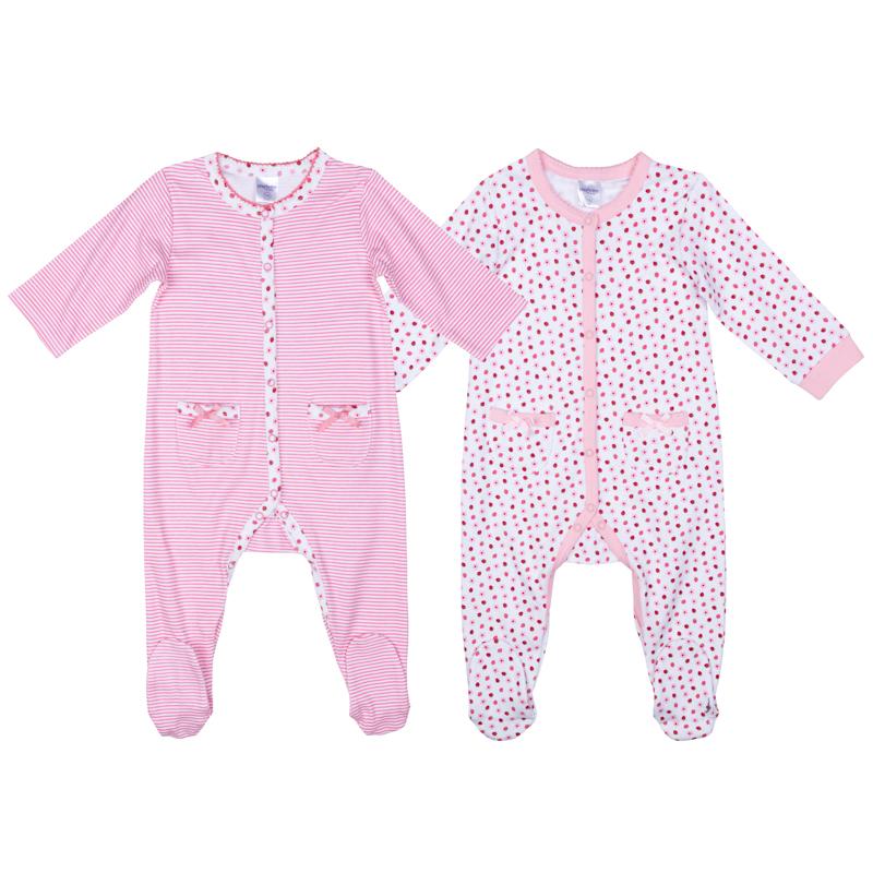 Комбинезон для девочки PlayToday, цвет: светло-розовый, белый , 2 шт. 378809. Размер 74378809Комплект комбинезонов PlayToday разнообразит гардероб ребенка. По всей длине изделий расположены удобные застежки-кнопки. В коллекциях для новорожденных предусмотрены специальные манжеты, которые можно превратить в рукавички - ребенок не сможет себя поранить и оцарапать. Натуральный материал и аккуратные швы не вызывают раздражений и неприятных ощущений. Комбинезоны дополнены небольшими карманами.